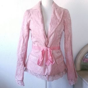 Anthro Tracy Reese Pink Embossed Lace Blazer